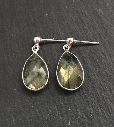 Labradorite and Silver Teardrop Stud Earrings