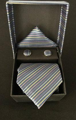 Blue Stripe Tie Set