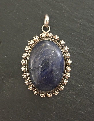 Lapis Lazuli and Silver Oval Pendant
