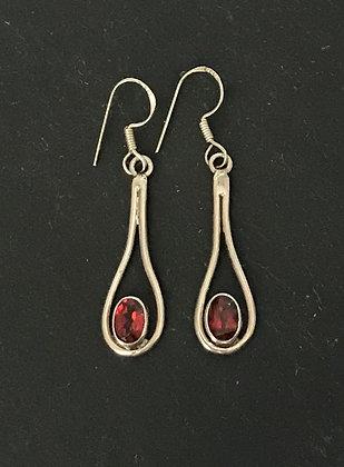 Garnet and Silver Drop Earrings