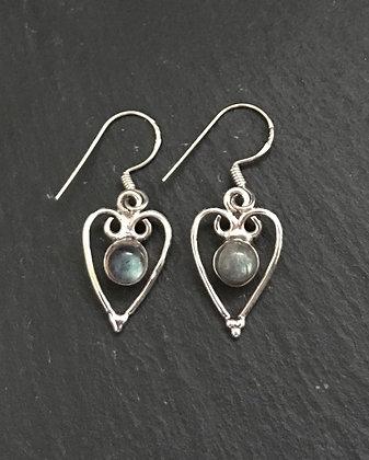 Labradorite Heart Earrings