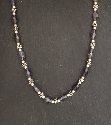 Iolite and Silver Bead Necklace