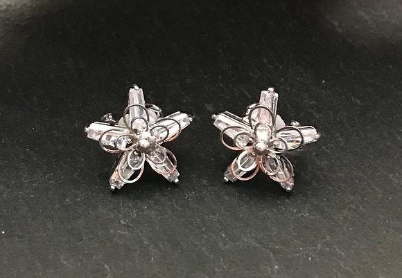 Bling Flower Clip On Earrings