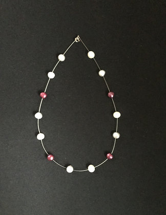White, Red and Silver Pearl Necklace