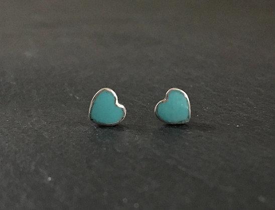 Heart Turquoise Stud Earrings