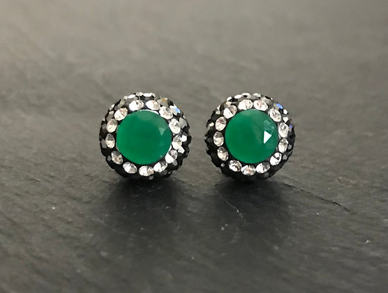 Emerald, Cubic Zirconia & Crystal Round Stud Earrings