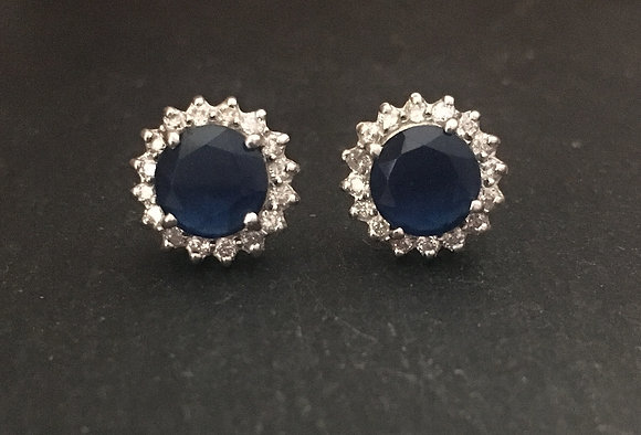 Round Sapphire and Cubic Zirconia Studs