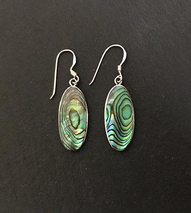 Long Oval Paua Shell Earrings