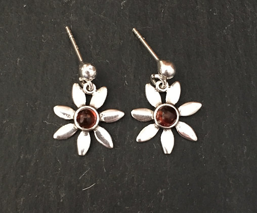 Amber and Silver Flower Earrings