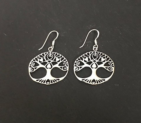 Oval Silver Tree Earrings