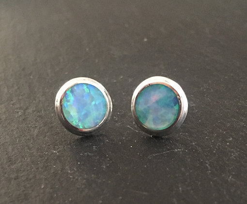 Synthetic Opal Round Studs