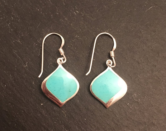 Wavey Turquoise and Silver Drop Earrings