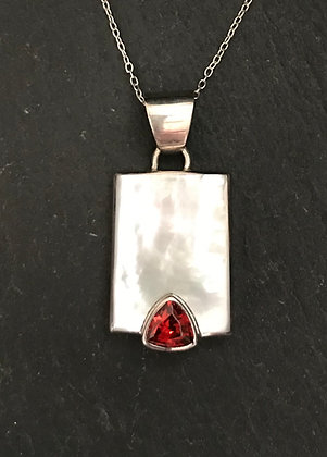 Garnet and Mother of Pearl Pendant