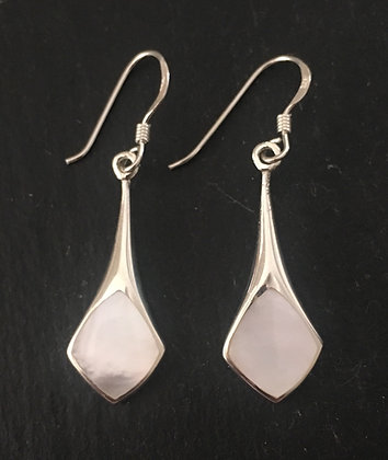 Mother of Pearl and Silver Kite Earrings