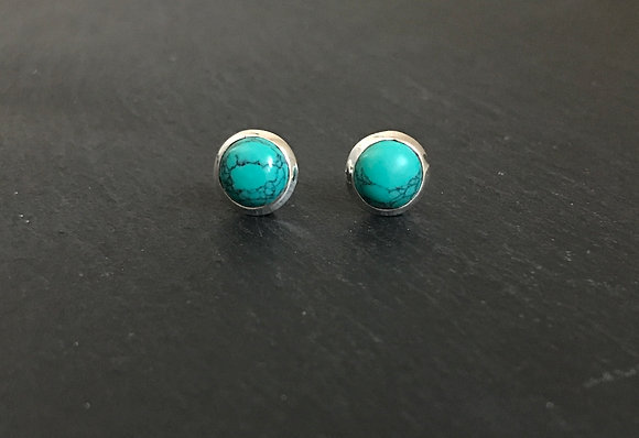 Turquoise and Silver Round Studs