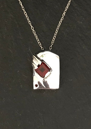 Kite and Silver Rectangle Garnet Pendant
