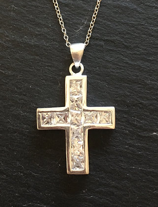 Cubic Zirconia and Silver Cross Pendant