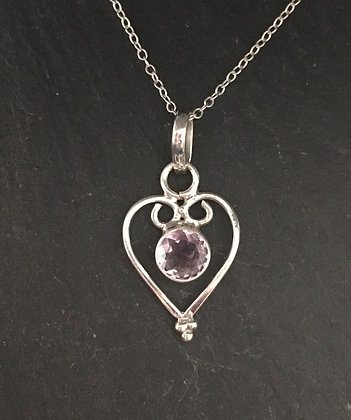 Amethyst and Silver Heart Pendant