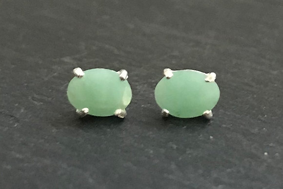 Oval Emerald Stud Earrings