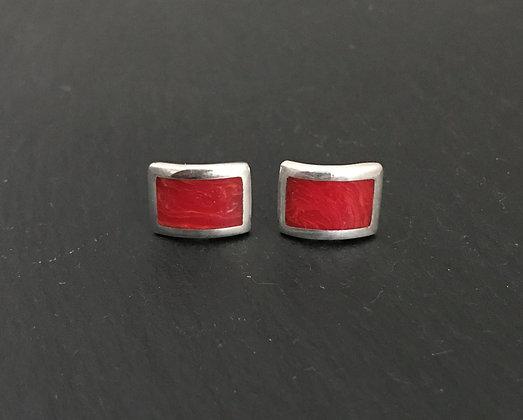 Rectangle Coral Stud Earrings