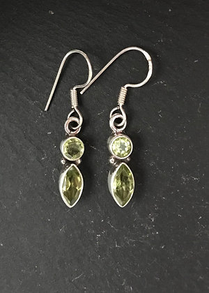 Two Stone Peridot Earrings
