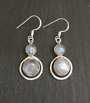 Round Moonstone Earrings