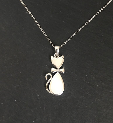 Mother of Pearl and Silver Cat Pendant