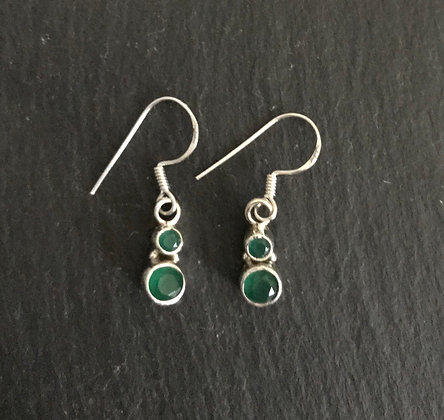 Two Stone Emerald Round Drop Earrings