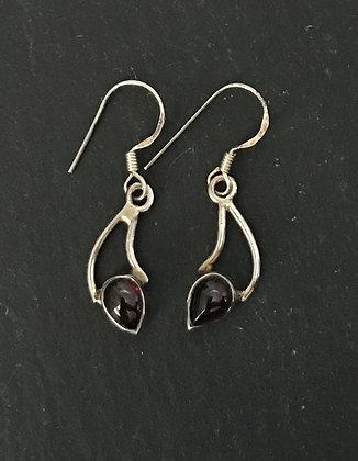 Garnet and Silver Teardrop Earrings
