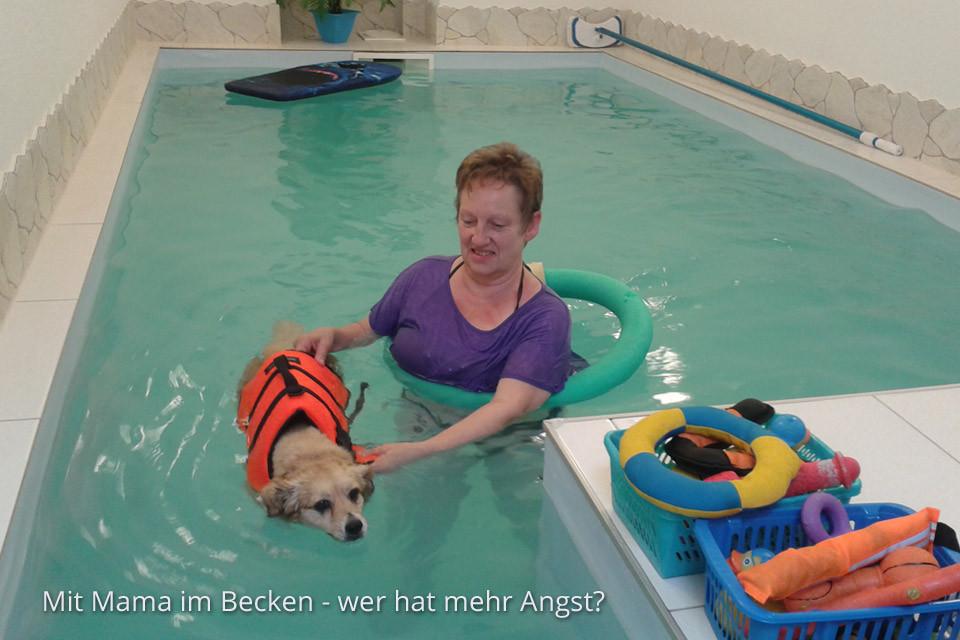 Mit Mama im Becken-  wer hat mehr Angst?