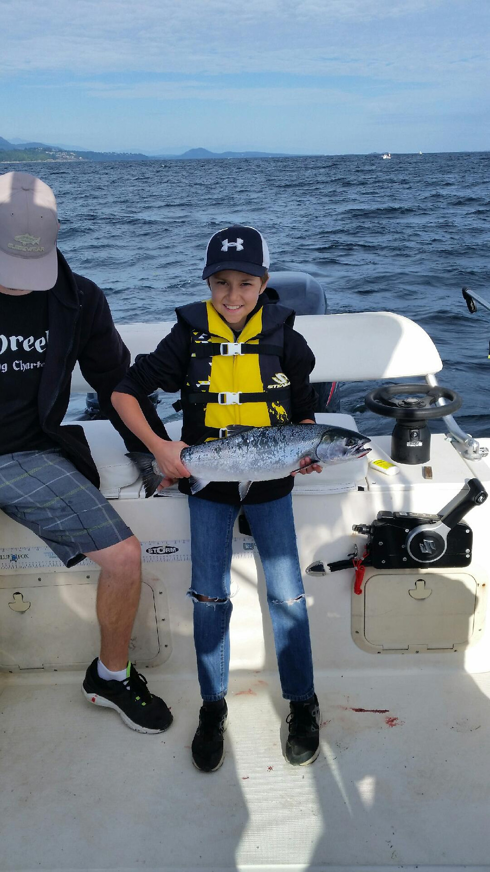 Awesome fish for this first time salmon fisherman on a fishing charter nanaimo