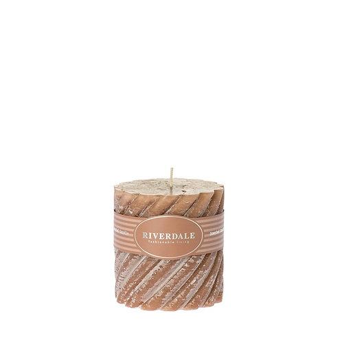 Geurkaars Swirl bruin 10x10cm Rosewater & Lychee