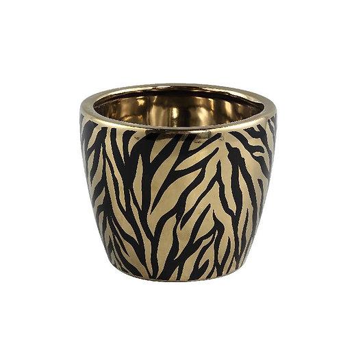 PTMD Brendy black gold keramiek dieren print pot rond m