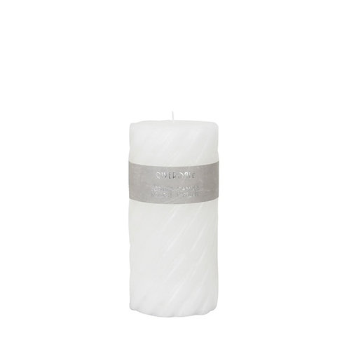CANDLE SWIRL WHITE 7.5X15CM White Tea Ginger