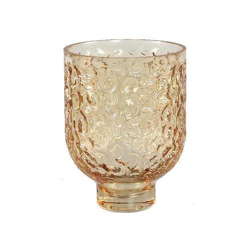 PTMD Wriggle brown gesprayde glazen vaas rond s