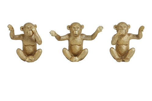 Ornament S/3 28,5x8x14 cm MONKEY goud