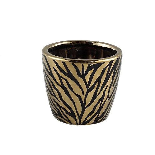 PTMD Brendy black gold keramiek dieren print pot rond s