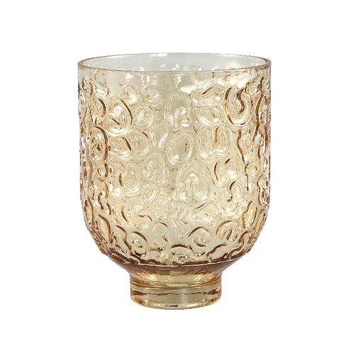 PTMD Wriggle brown gesprayde glazen vaas rond l