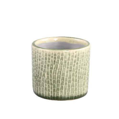 PTMD Suma green geglazuurde keramiek pot rond xxs