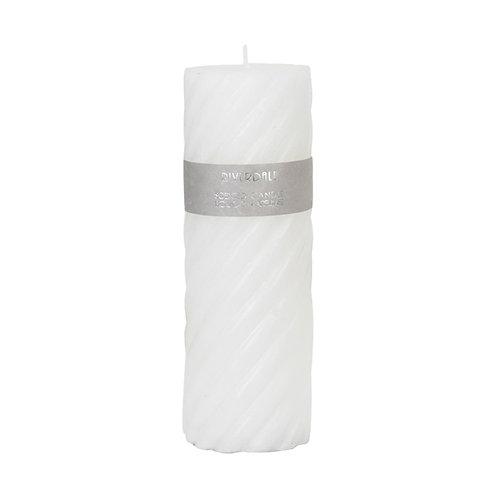 CANDLE SWIRL WHITE 7.5X23CM White Tea Ginger
