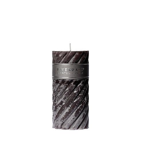 CANDLE SWIRL DARK GREY 7.5X15CM