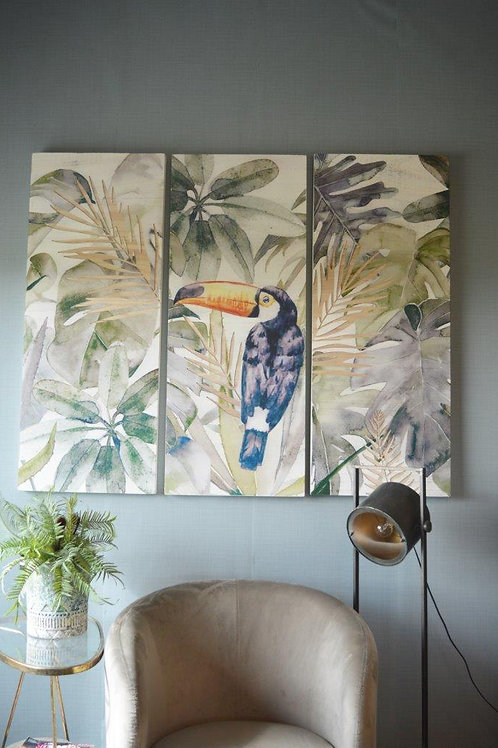 PTMD Mixed wooden panel toucan 145.0 x 4.0 x 120.0 cm