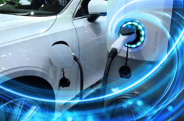 EV Car or Electric vehicle at charging s