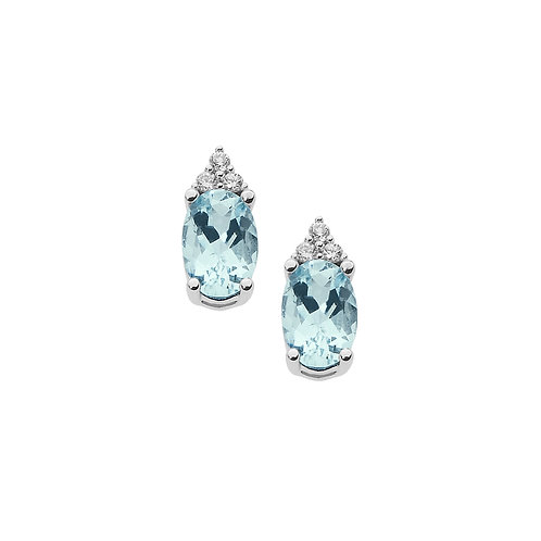 Orecchini in Oro 18 carati con Diamanti e Aquamarina ovale
