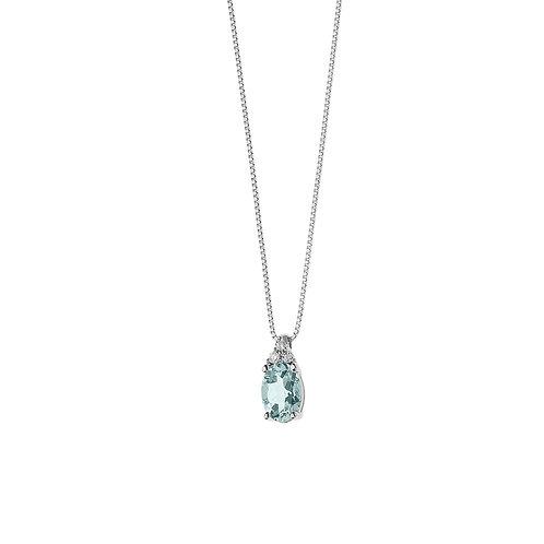 Girocollo in Oro 18 carati con Diamanti e Aquamarina ovale
