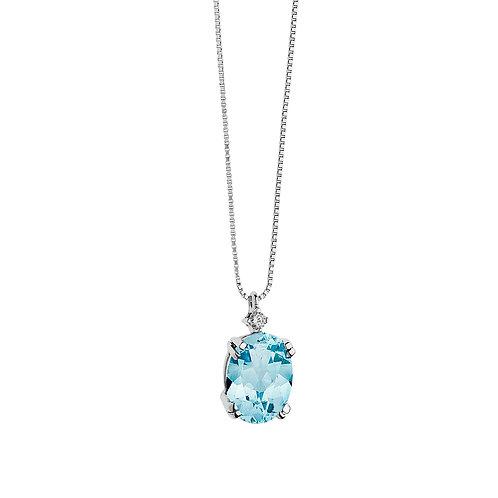 Girocollo in Oro 18 carati con Diamanti e Topazio azzurro ovale