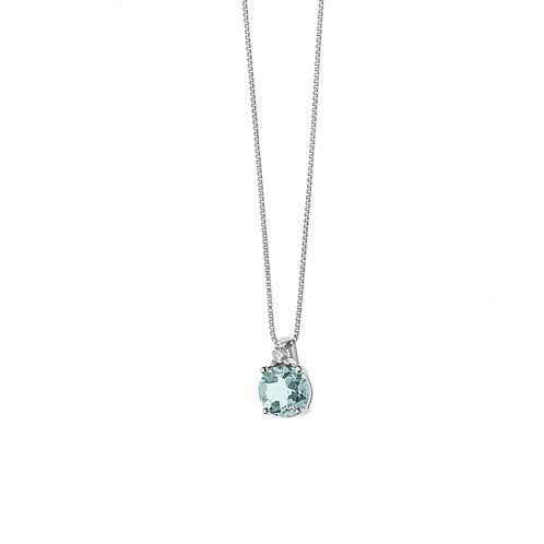 Girocollo in Oro 18 carati con Diamanti e Aquamarina tonda