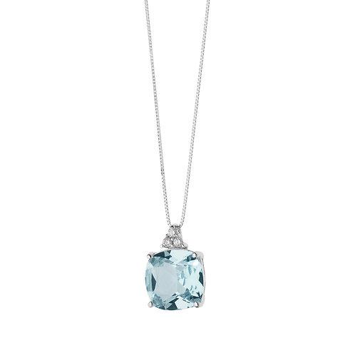 Girocollo in Oro 18 carati con Diamanti e Topazio azzurro