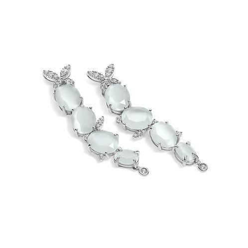 Orecchini in argento con cristalli color pietre di luna