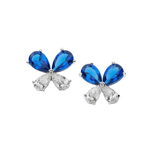 Orecchini Farfalle in Argento e Zirconi bianchi e blu